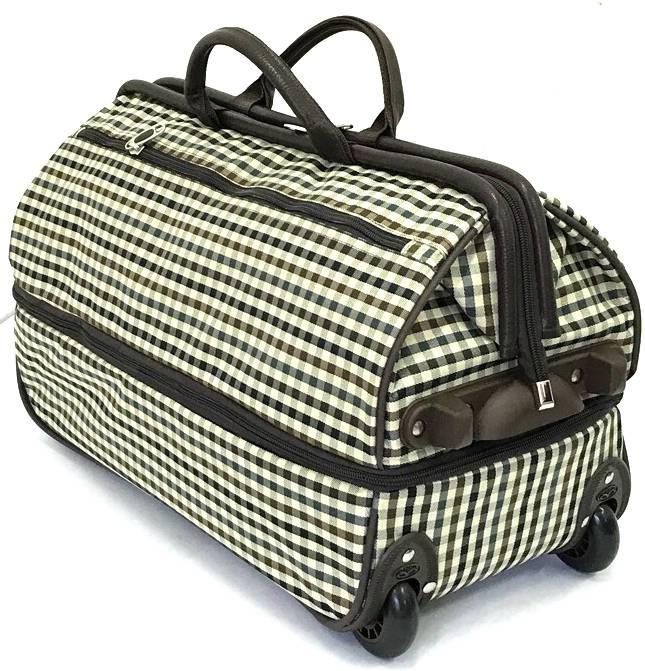 0049d7f6e5c3 Дорожная сумка на колесах TsV 513.2 бежевая в клетку купить по цене ...
