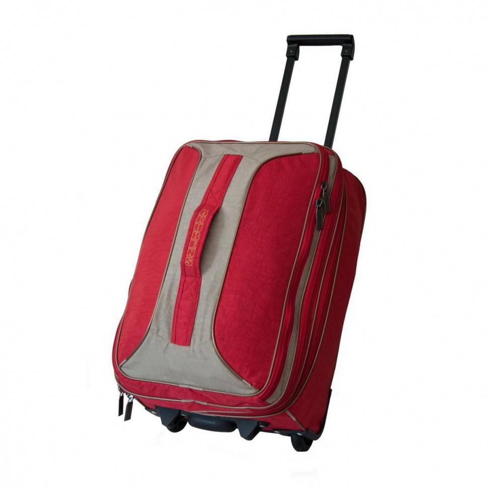 782943240886 Дорожная сумка чемодан на колесах Akubens АК2040 красная с бежевым ...